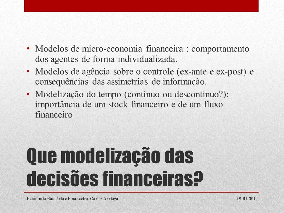 Que modelização das decisões financeiras