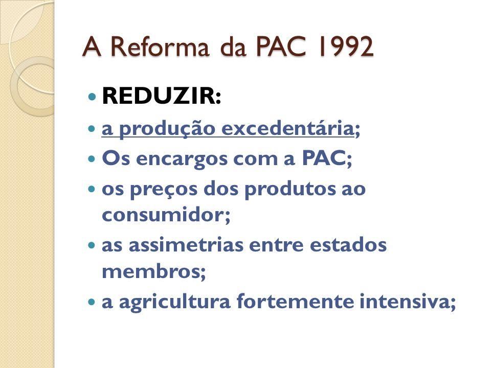 A Reforma da PAC 1992 REDUZIR: a produção excedentária;