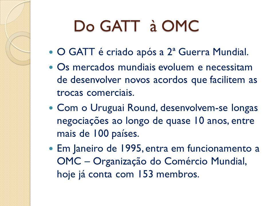 Do GATT à OMC O GATT é criado após a 2ª Guerra Mundial.