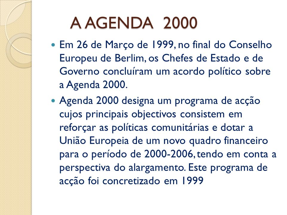 A AGENDA 2000