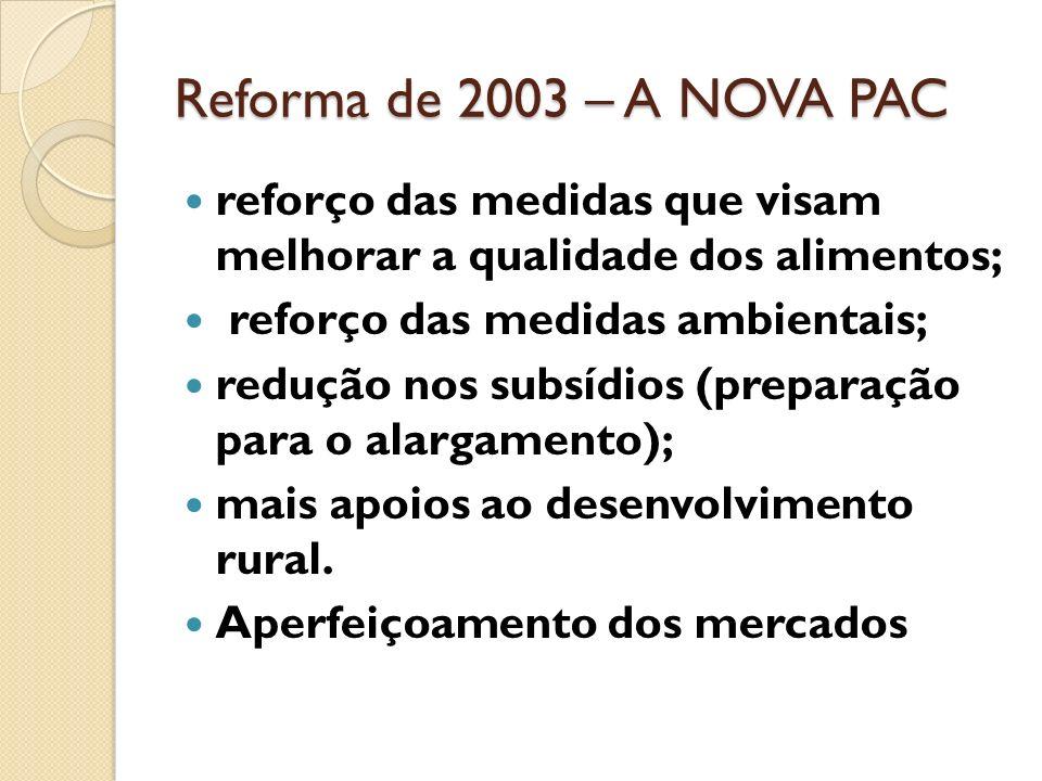 Reforma de 2003 – A NOVA PACreforço das medidas que visam melhorar a qualidade dos alimentos; reforço das medidas ambientais;