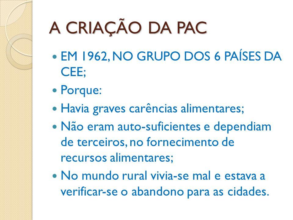 A CRIAÇÃO DA PAC EM 1962, NO GRUPO DOS 6 PAÍSES DA CEE; Porque: