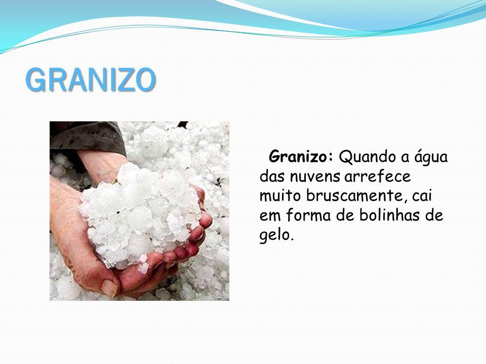 GRANIZOGranizo: Quando a água das nuvens arrefece muito bruscamente, cai em forma de bolinhas de gelo.