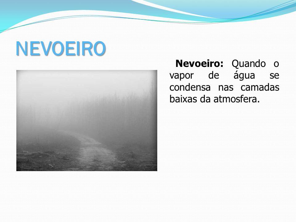 NEVOEIRO Nevoeiro: Quando o vapor de água se condensa nas camadas baixas da atmosfera.