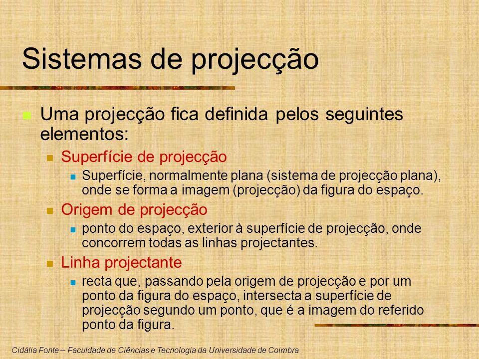 Sistemas de projecção Uma projecção fica definida pelos seguintes elementos: Superfície de projecção.
