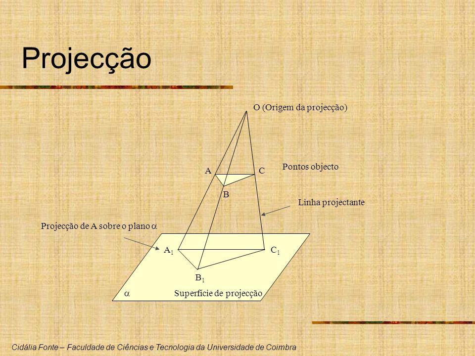 Projecção A B C A1 B1 C1 O (Origem da projecção)