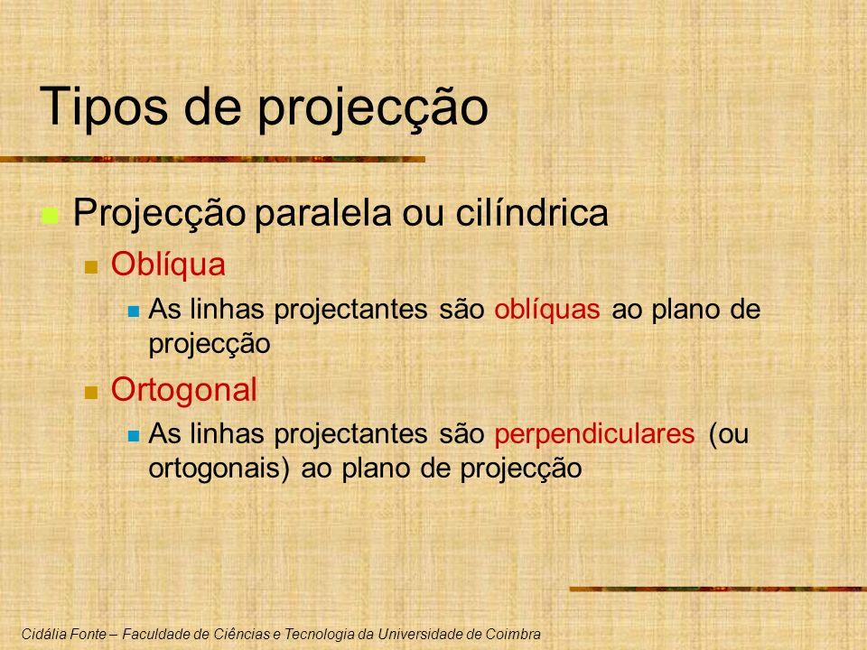 Tipos de projecção Projecção paralela ou cilíndrica Oblíqua Ortogonal