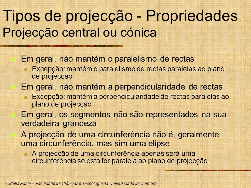 Tipos de projecção - Propriedades Projecção central ou cónica