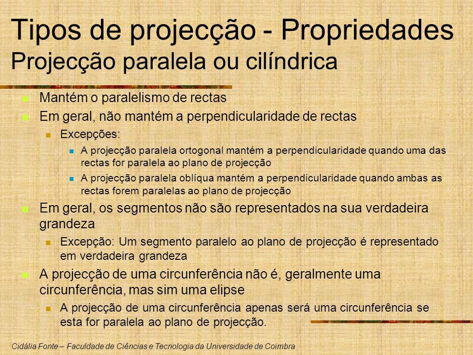 Tipos de projecção - Propriedades Projecção paralela ou cilíndrica