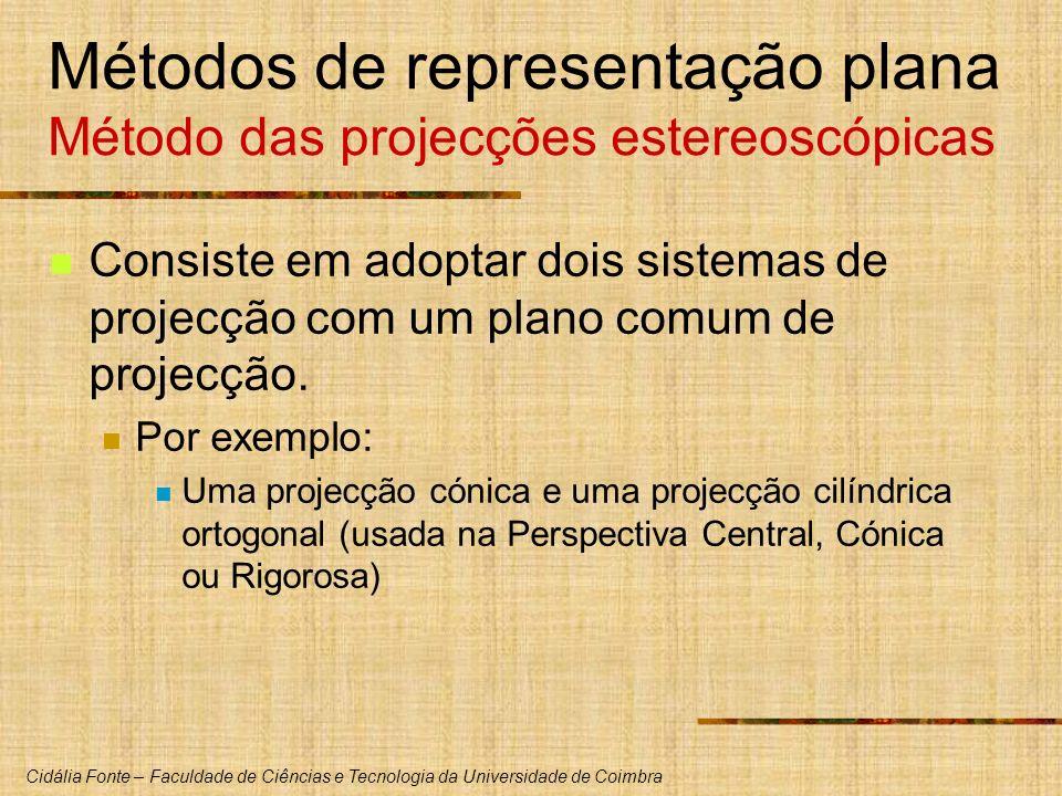 Métodos de representação plana Método das projecções estereoscópicas
