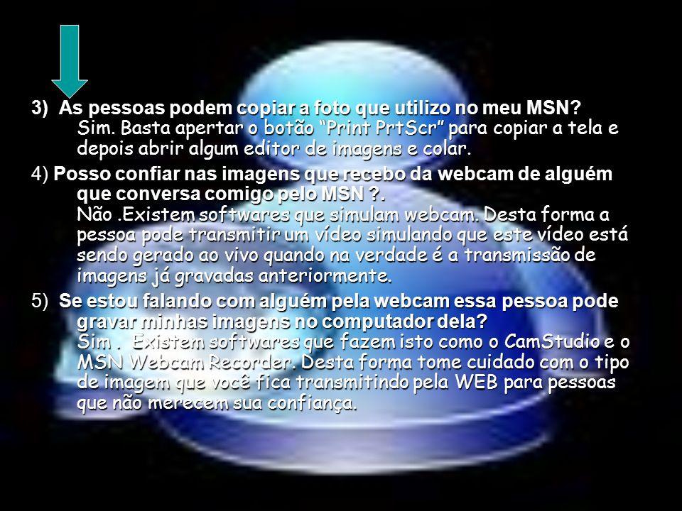 3) As pessoas podem copiar a foto que utilizo no meu MSN. Sim