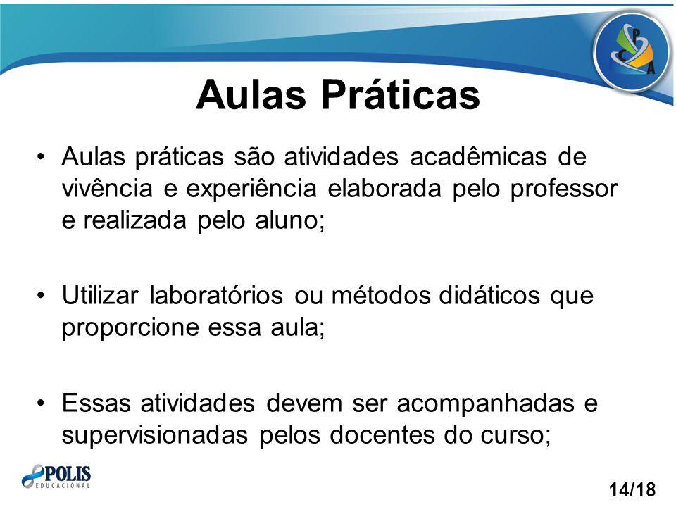 Aulas Práticas Aulas práticas são atividades acadêmicas de vivência e experiência elaborada pelo professor e realizada pelo aluno;