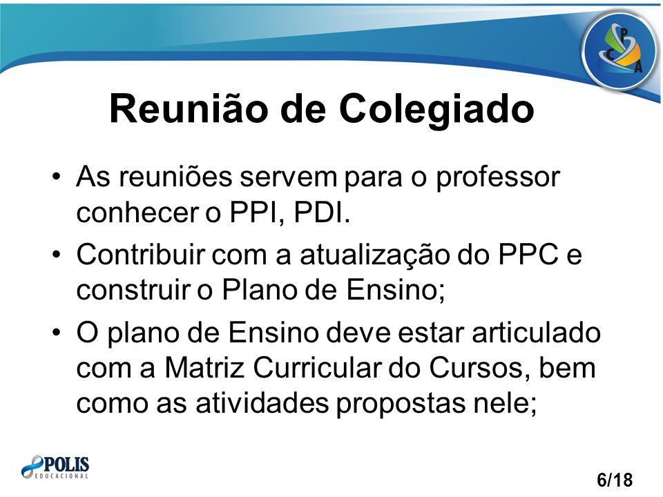 Reunião de Colegiado As reuniões servem para o professor conhecer o PPI, PDI. Contribuir com a atualização do PPC e construir o Plano de Ensino;