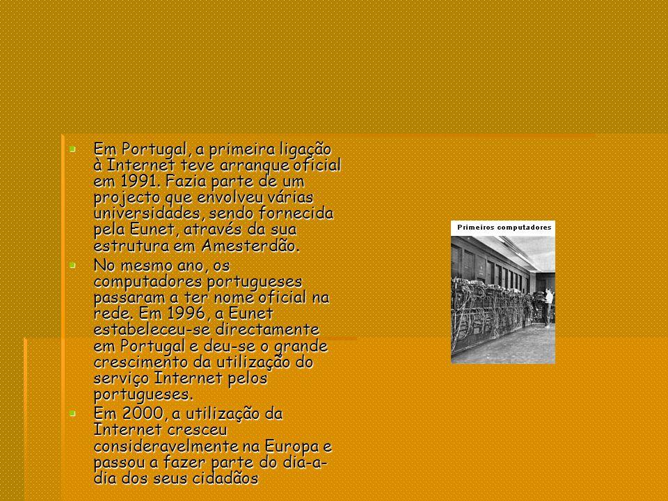 Em Portugal, a primeira ligação à Internet teve arranque oficial em 1991. Fazia parte de um projecto que envolveu várias universidades, sendo fornecida pela Eunet, através da sua estrutura em Amesterdão.