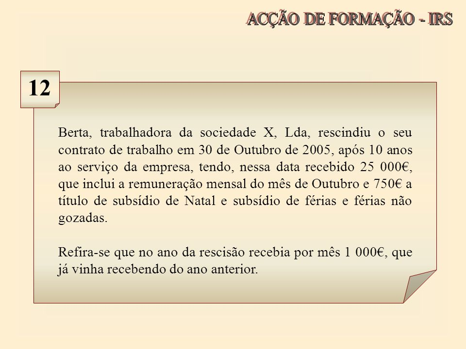 ACÇÃO DE FORMAÇÃO - IRS 12.