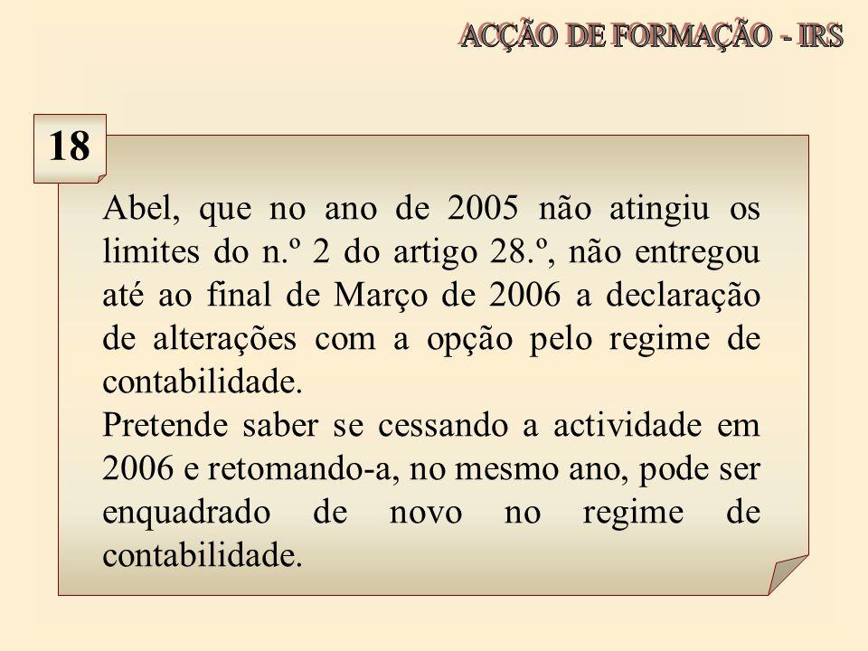 ACÇÃO DE FORMAÇÃO - IRS 18.