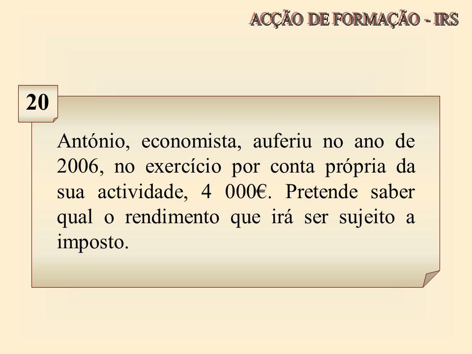 ACÇÃO DE FORMAÇÃO - IRS 20.