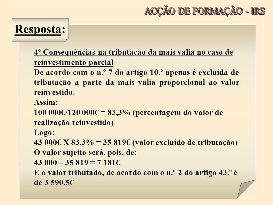 Resposta: ACÇÃO DE FORMAÇÃO - IRS