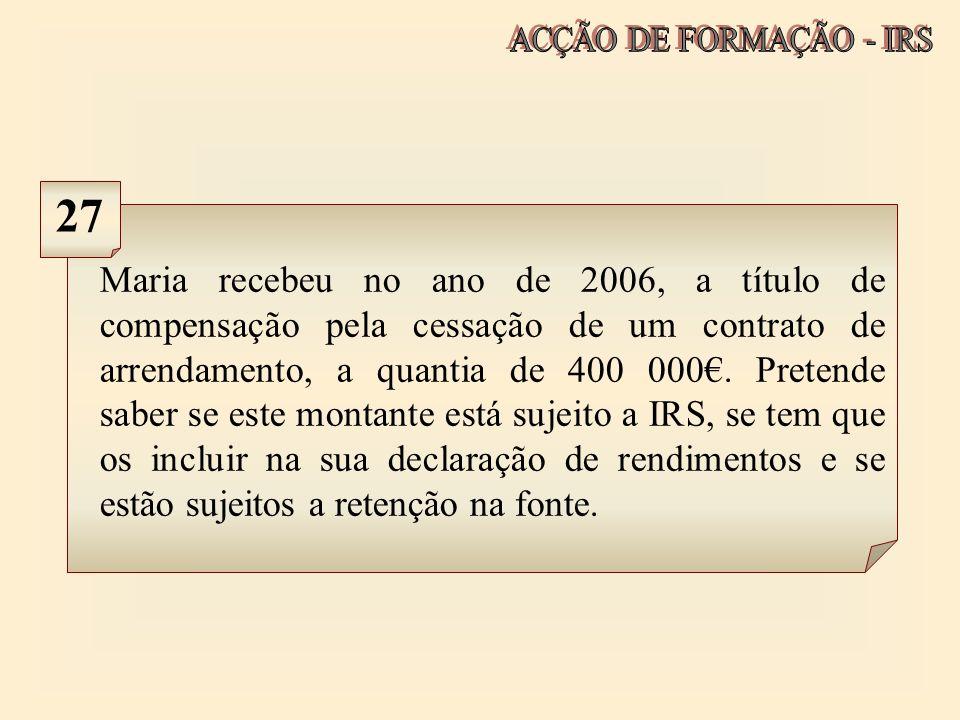 ACÇÃO DE FORMAÇÃO - IRS 27.