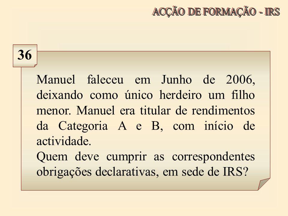 ACÇÃO DE FORMAÇÃO - IRS 36.