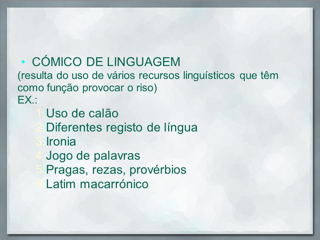 Diferentes registo de língua Ironia Jogo de palavras