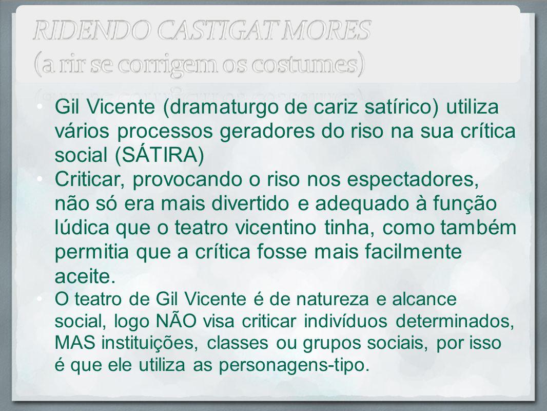 Gil Vicente (dramaturgo de cariz satírico) utiliza vários processos geradores do riso na sua crítica social (SÁTIRA)