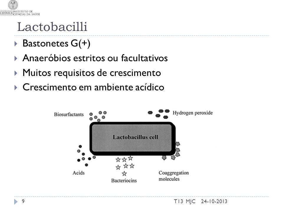 Lactobacilli Bastonetes G(+) Anaeróbios estritos ou facultativos