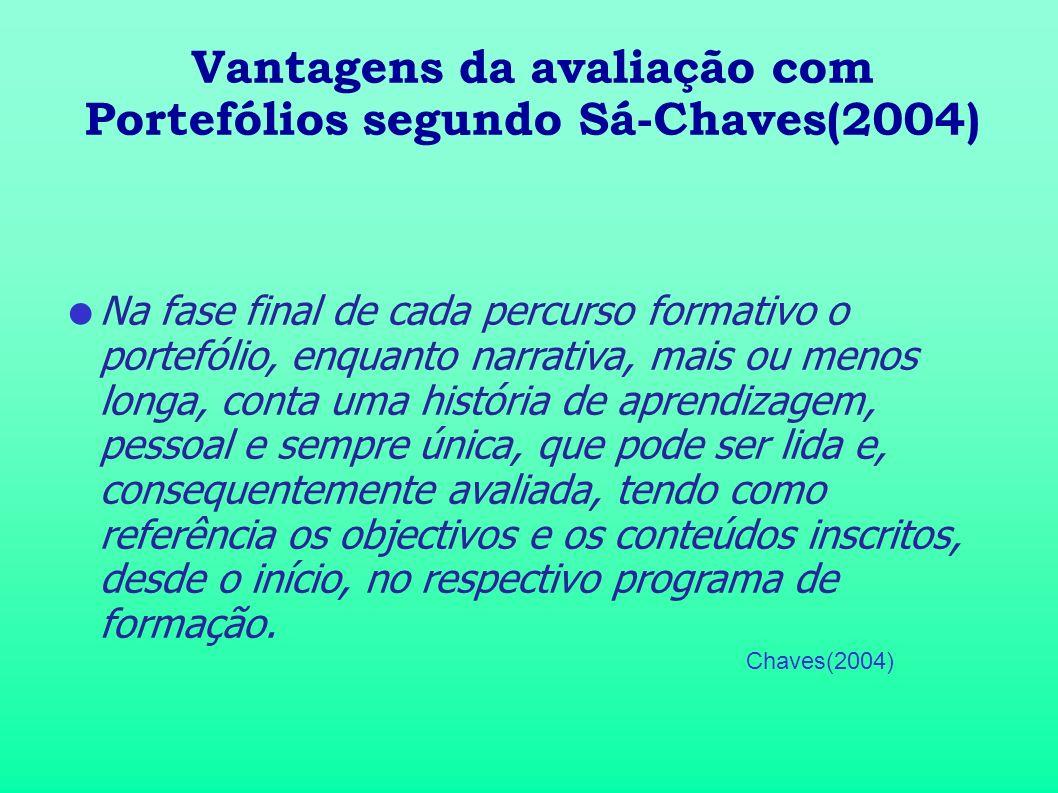 Vantagens da avaliação com Portefólios segundo Sá-Chaves(2004)