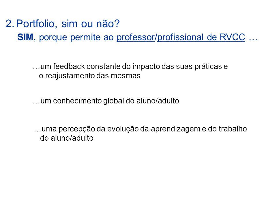 SIM, porque permite ao professor/profissional de RVCC …