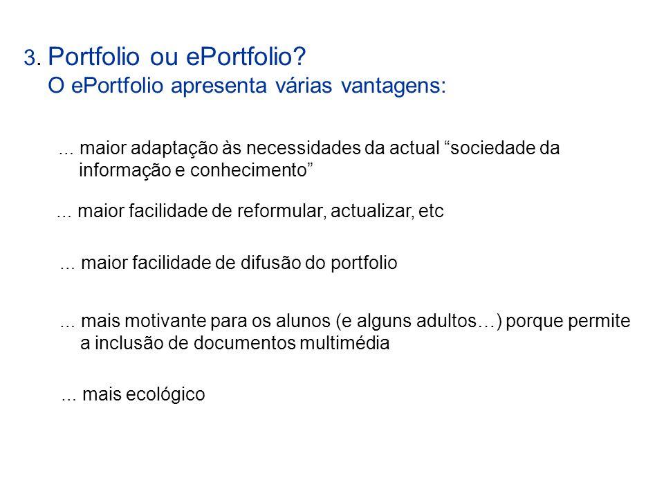 3. Portfolio ou ePortfolio O ePortfolio apresenta várias vantagens: