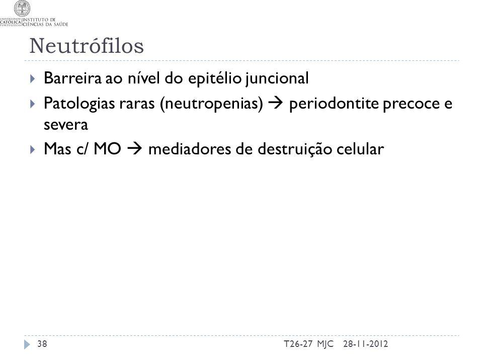 Neutrófilos Barreira ao nível do epitélio juncional