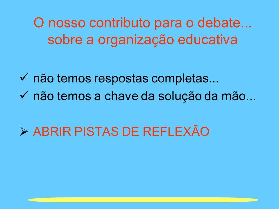 O nosso contributo para o debate... sobre a organização educativa