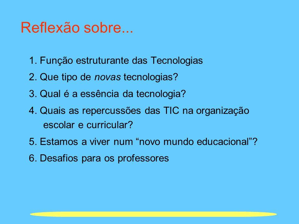 Reflexão sobre... 1. Função estruturante das Tecnologias