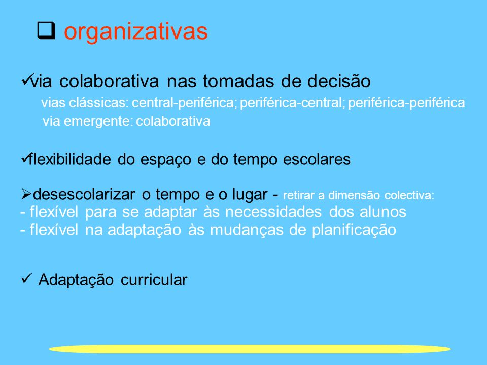 organizativas via colaborativa nas tomadas de decisão