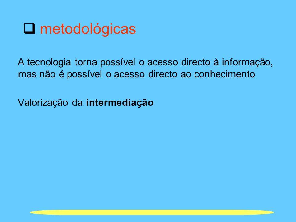 metodológicas A tecnologia torna possível o acesso directo à informação, mas não é possível o acesso directo ao conhecimento.