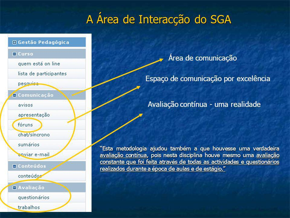 A Área de Interacção do SGA