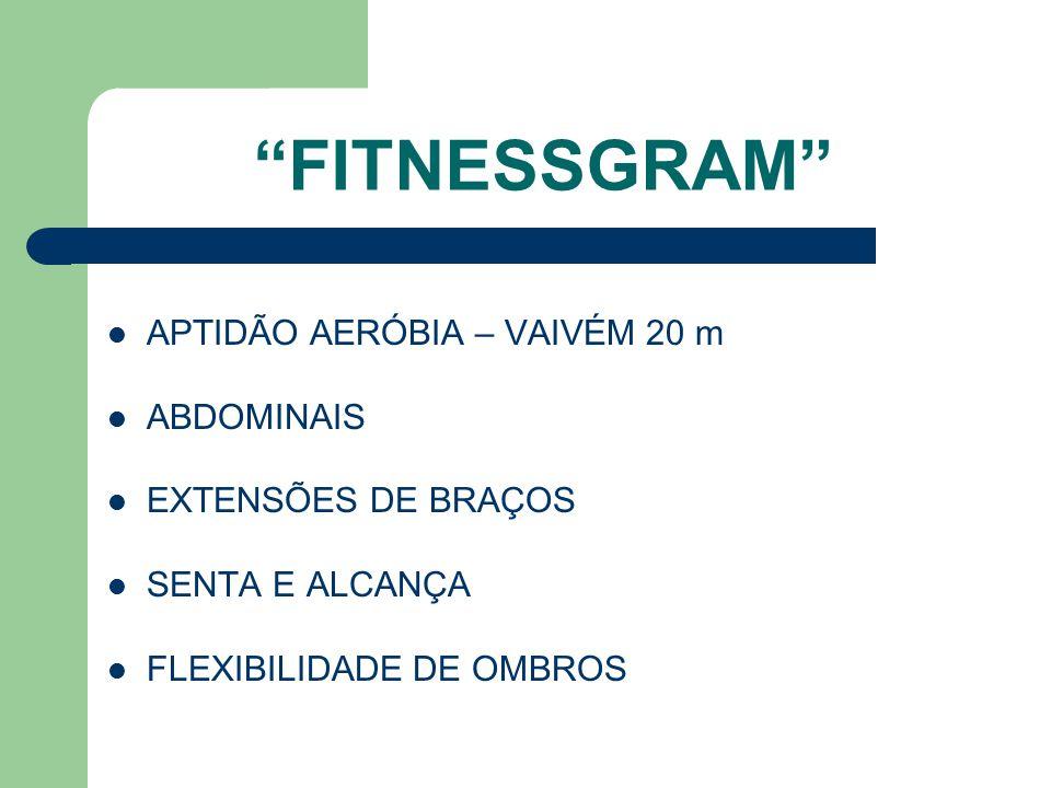 FITNESSGRAM APTIDÃO AERÓBIA – VAIVÉM 20 m ABDOMINAIS