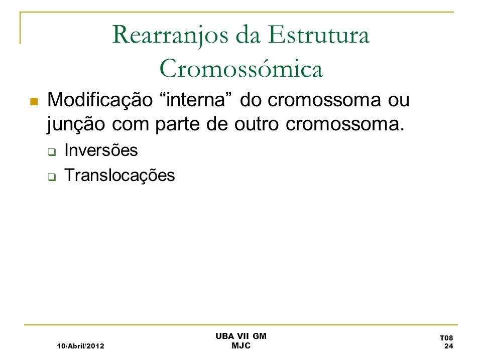 Rearranjos da Estrutura Cromossómica