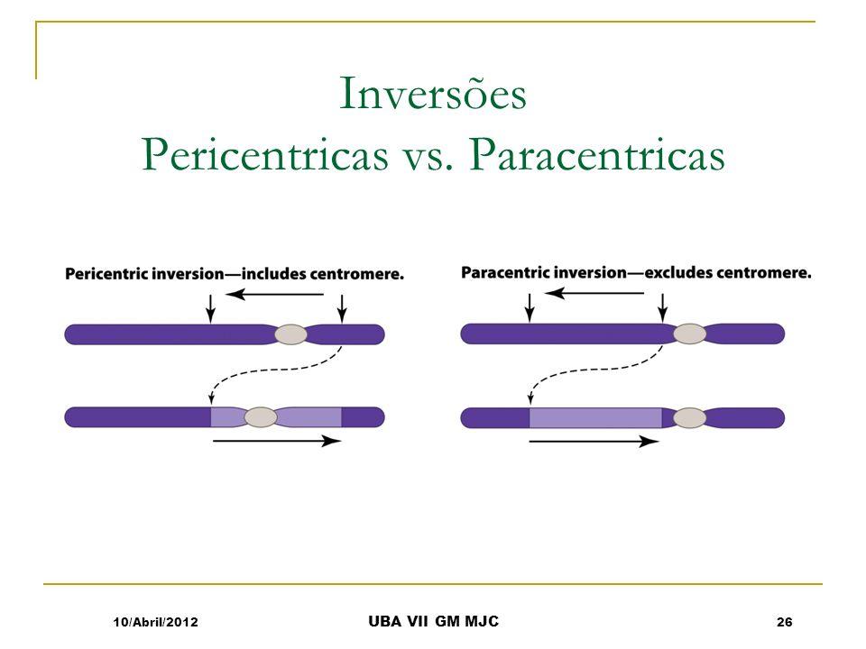 Inversões Pericentricas vs. Paracentricas