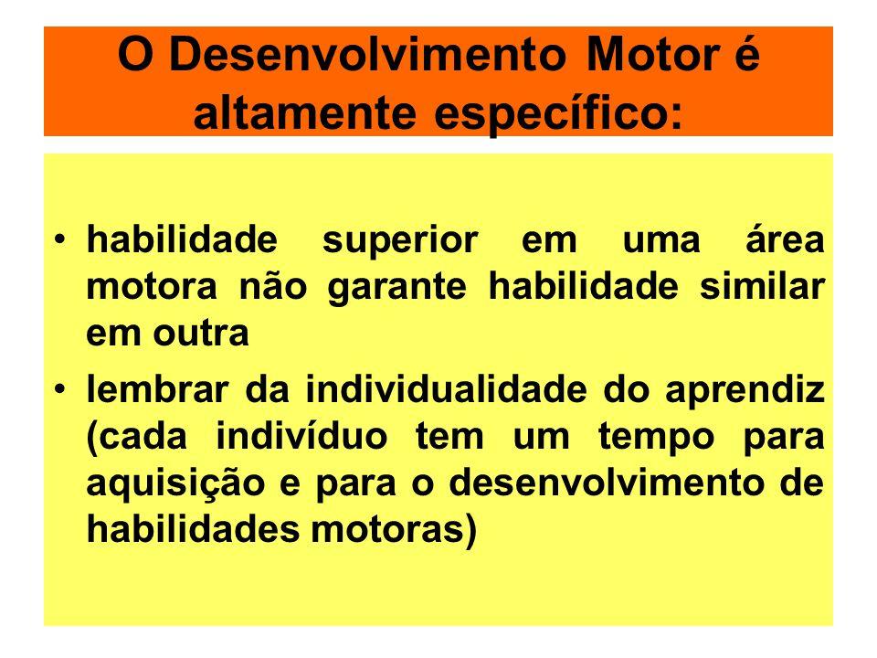 O Desenvolvimento Motor é altamente específico: