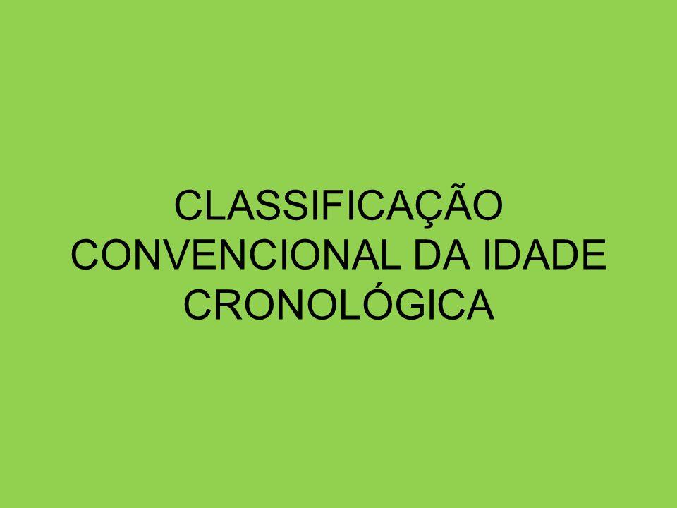 CLASSIFICAÇÃO CONVENCIONAL DA IDADE CRONOLÓGICA