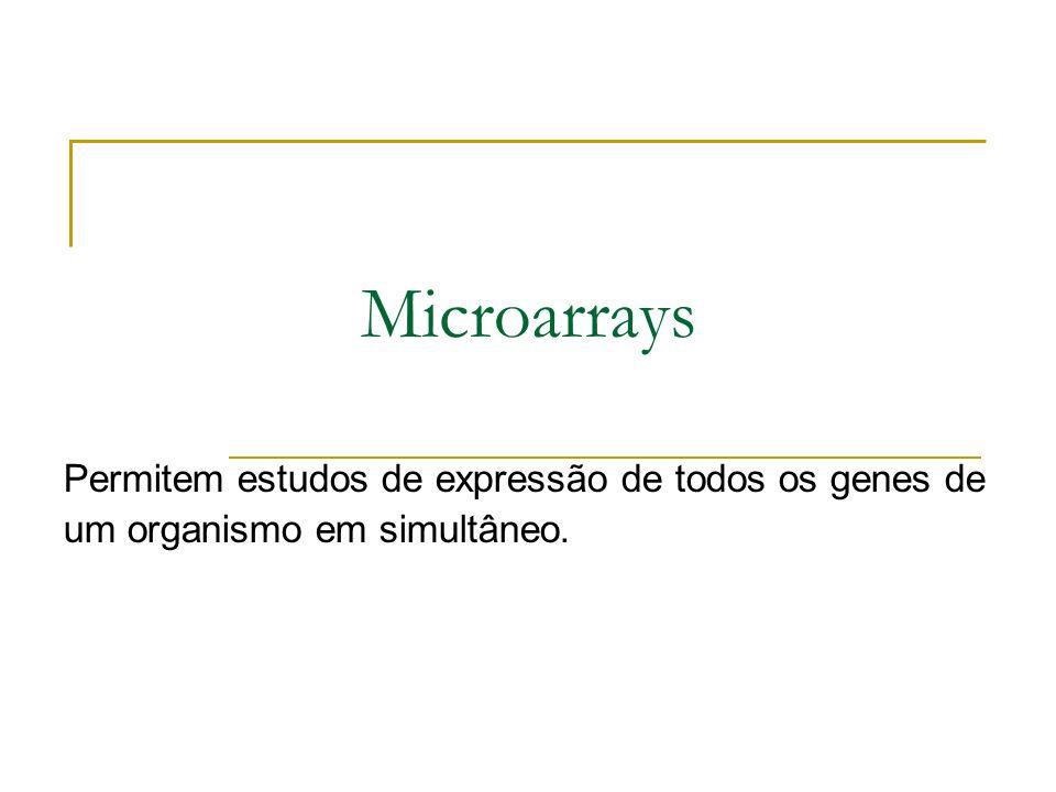 Microarrays Permitem estudos de expressão de todos os genes de um organismo em simultâneo.