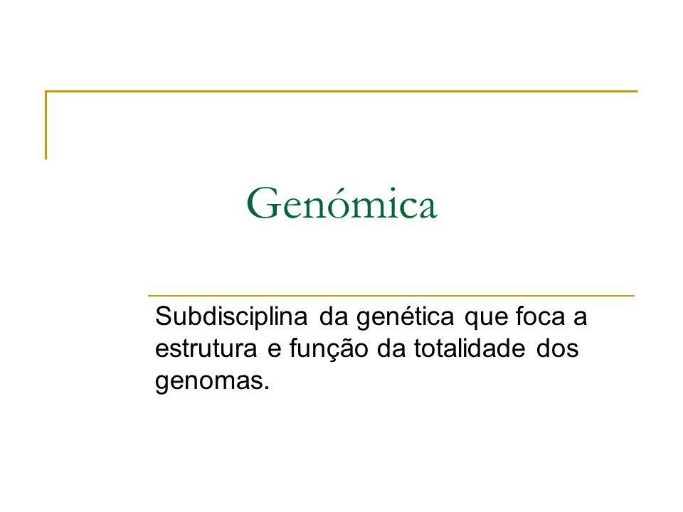 Genómica Subdisciplina da genética que foca a estrutura e função da totalidade dos genomas.