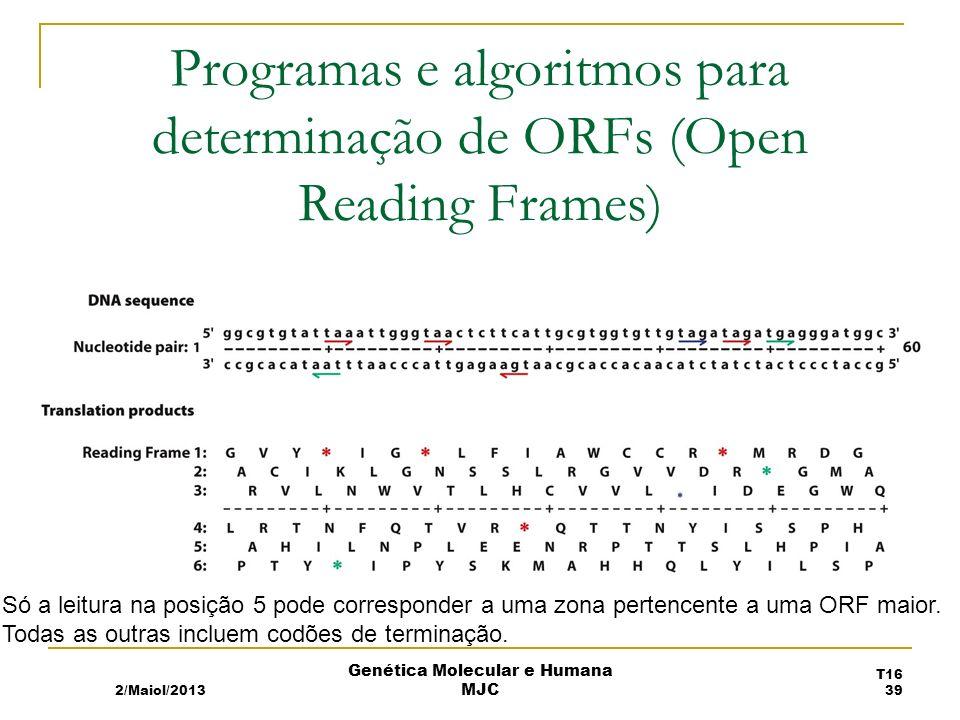 Programas e algoritmos para determinação de ORFs (Open Reading Frames)