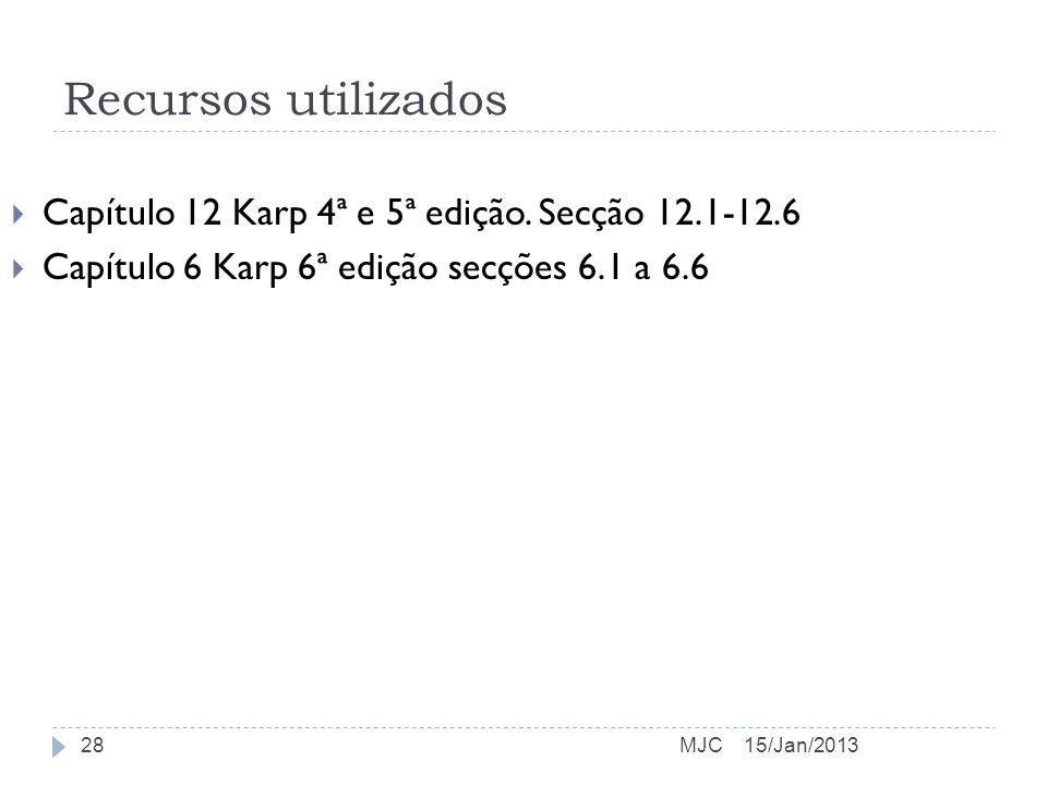 Recursos utilizados Capítulo 12 Karp 4ª e 5ª edição. Secção 12.1-12.6