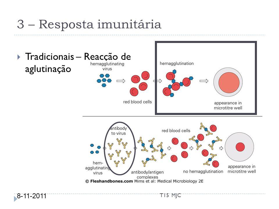 3 – Resposta imunitária Tradicionais – Reacção de aglutinação