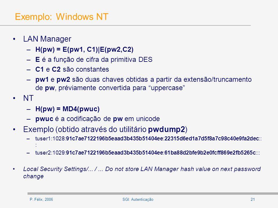 Exemplo: Windows NT LAN Manager NT