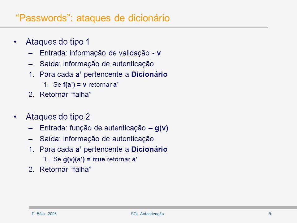 Passwords : ataques de dicionário