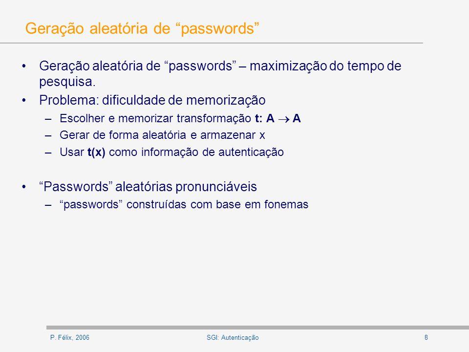 Geração aleatória de passwords