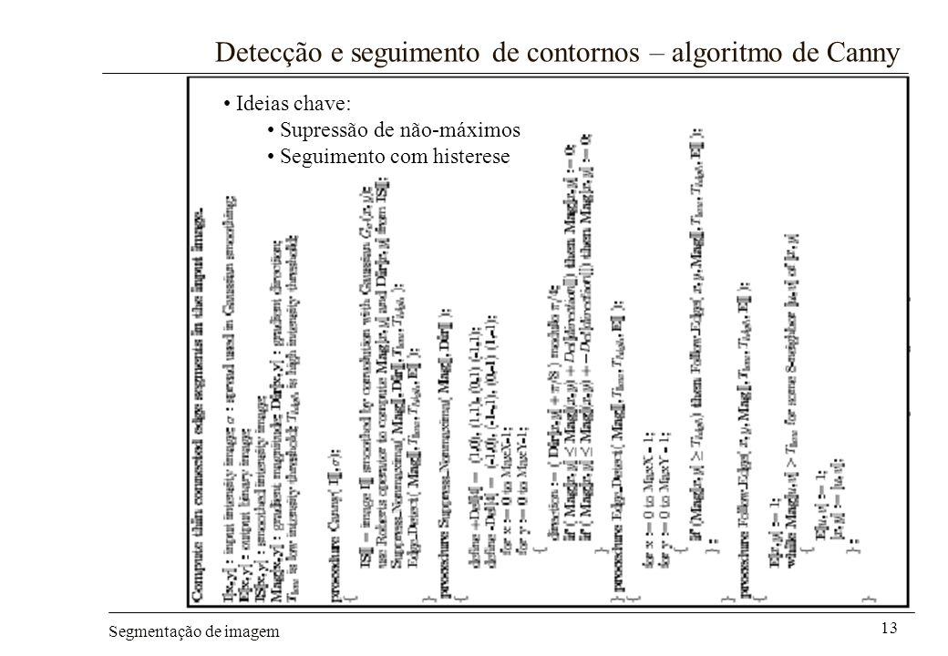 Detecção e seguimento de contornos – algoritmo de Canny